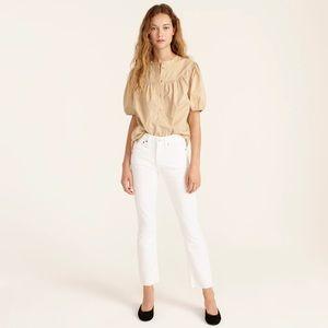 "NWT J. CREW 9"" Billie Demi-Boot Crop Jeans in White Size 27"